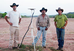 three men in hats standing by tripod
