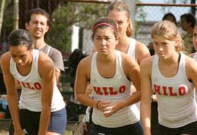 women cross-country runners in Hilo jerseys