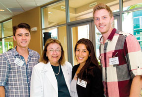 Students with alumna faculty member Patricia Blanchette