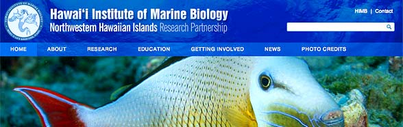 blue banner from Northwest Hawaiian Islands Research Partnership website showing a fish