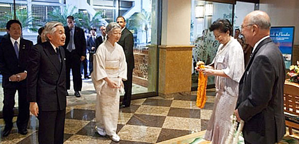 Emperor Akihito and his wife