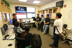 Dr. Matthew A. Chapman and student interns at the UH West O'ahu Cyber Security Coordination Center.
