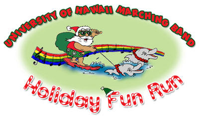 Illustration of Santa on a surfboard in front of rainbow colored musical notes with text stating University of Hawaii Band Holiday Fun Run