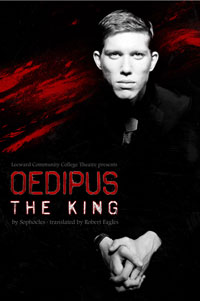Play poster depicting man with stark pale face and words Oedipus the King