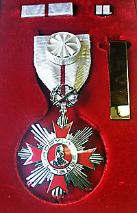 Medal lying on red fabric