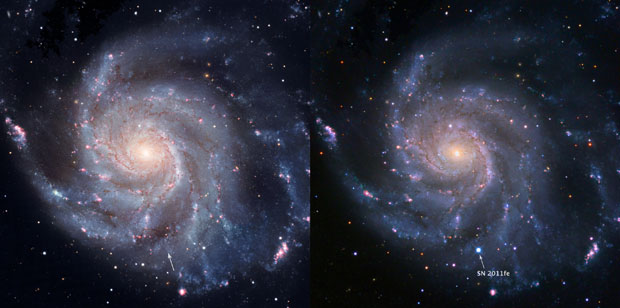 Pinwheel galaxy in Hubble Space Telescope image before explosion of supernova and in composite image