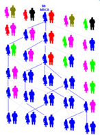 silhouette of people in different colors linked by lines