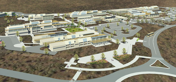 Artist's rendering of future Hawaii Community College Palamanui campus