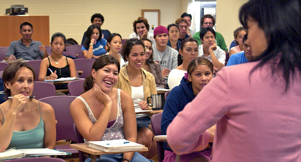Classroom of students listening to professor