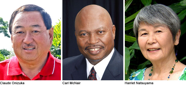 Claude Onizuka, Carl McNair and Harriet Natsuyama headshots