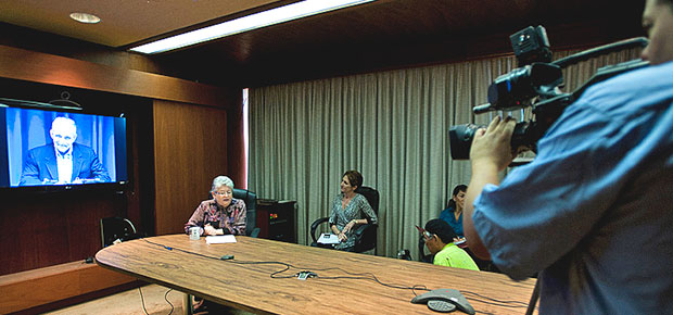 People at a news conference