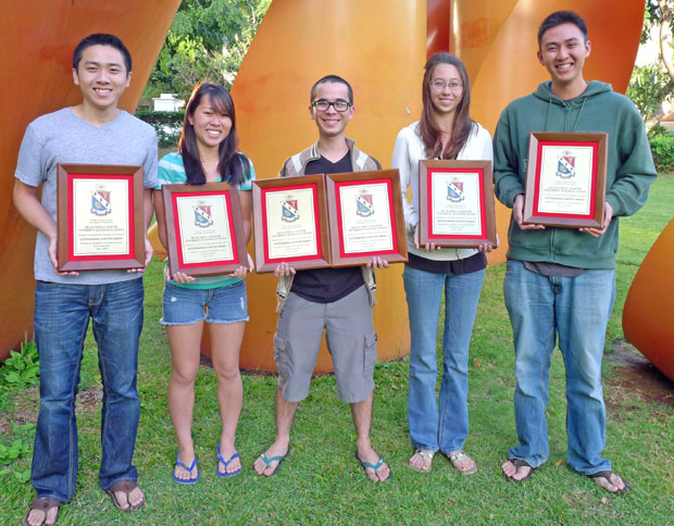 5 students holding plaques