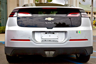The back of a Chevy Volt electric car