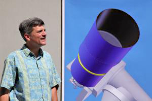 ATLAS project head John Tonry with a conceptual drawing for an ATLAS telescope. (Images courtesy of the Institute for Astronomy)