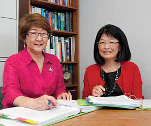 From left, former UH Manoa nursing professor and associate dean for Research Jillian Inouye and UH Manoa Nursing associate professor Merle Kataoka-Yahiro (photo courtesy of UH Manoa).