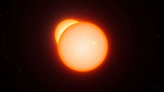 Artist's impression of eclipsing binary (courtesy of European Southern Observatory)