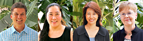 From left, Kimo Kai, Kellie Ann Takenaka, Kristi Bates and Margaret Shiba (photos courtesy of the University of Hawaii Foundation)