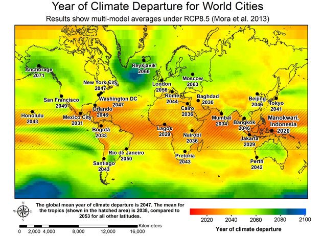 year of climate departure