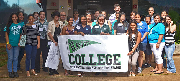 group shot of volunteers at the College Application and Exploration Season event