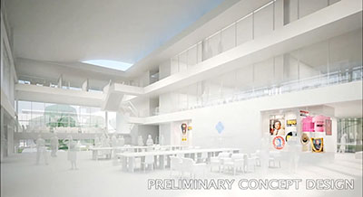 The preliminary conceptual design for the Daniel K. Inouye Center on the University of Hawaiʻ at Mānoa campus.