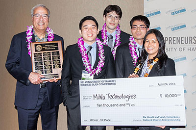 The MiWa Technologies team, from left, Magdy Iskander, Matt Amore, Darcy Bibb, Gui Chao Huang and Ruthsenne Perron