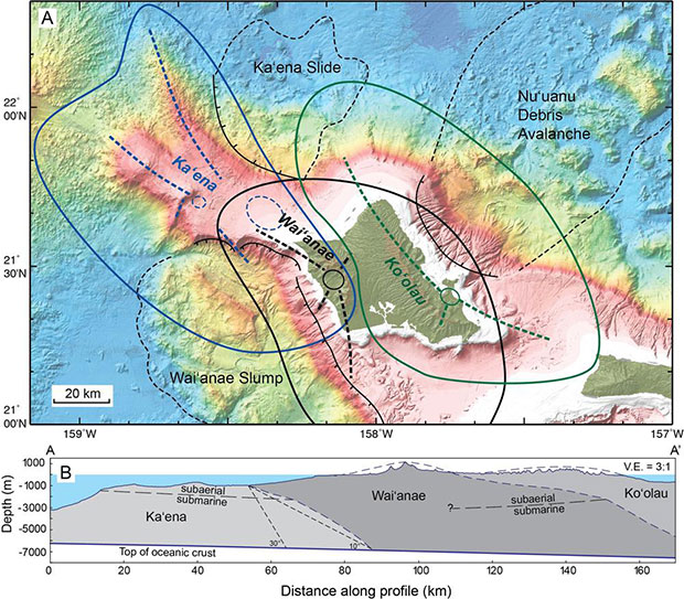 Schematic of three volcanoes now thought to make up the region of O'ahu. (credit: J. Sinton)