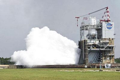 Rocket engine testing at NASA's Stennis Space Center (photo courtesy of NASA)