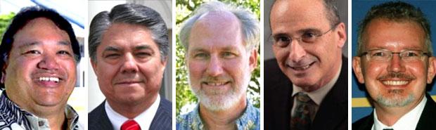UH Maui College chancellor candidates, from left, Lui K. Hokoana, Ricardo Maestas, Jonathon McKee, Michael B. Reiner and Jeffery Thomas