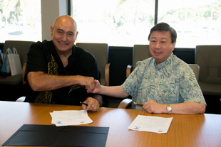 UH West Oahu Chancellor Rockne Freitas and Tokai University Chancellor Kiyoshi Yamada signed the agreement on January 9