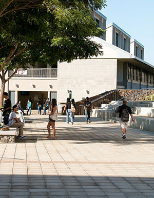 building and students at UH West Oahu