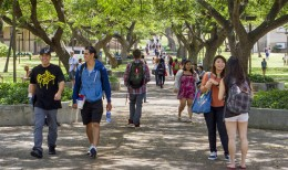 Students walking in McCarthy Mall