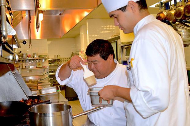 Mark Oyama in kitchen