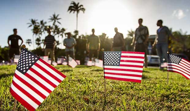 veterans day commemoration U S flag planting