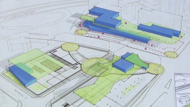 schematic draft of 3 quarter aerial view of the area planned for development