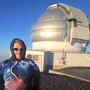 UH Hilo student Derek Hand conducting astronomy research on merging galaxies