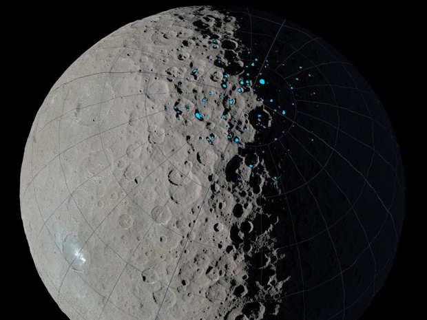 Image of shadowed craters on Ceres highlighted in blue