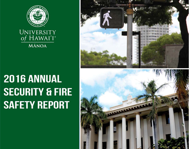 Cover of the 2016 Annual Security and Fire Safety Report (Hawaii Hall and traffic signal)