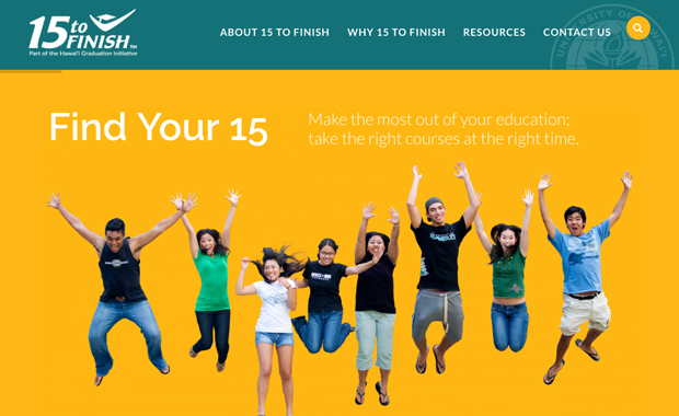 students jumping happily on the 15 to Finish website