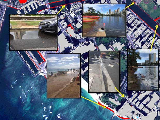 photo montage of extreme high tides