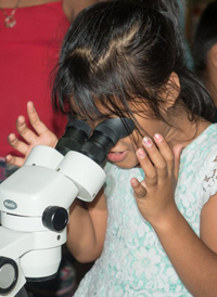 girl looking into a microscope