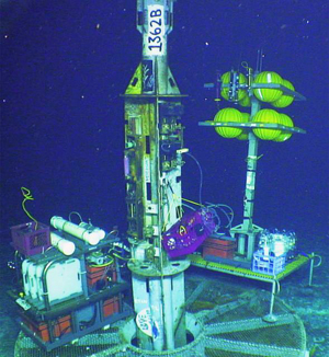 CORK sampling device on ocean floor