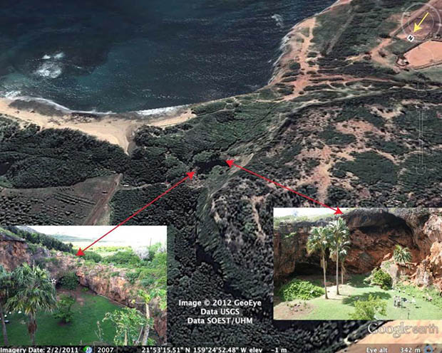 Overhead view of Makauwahi sinkhole with photo details of the area
