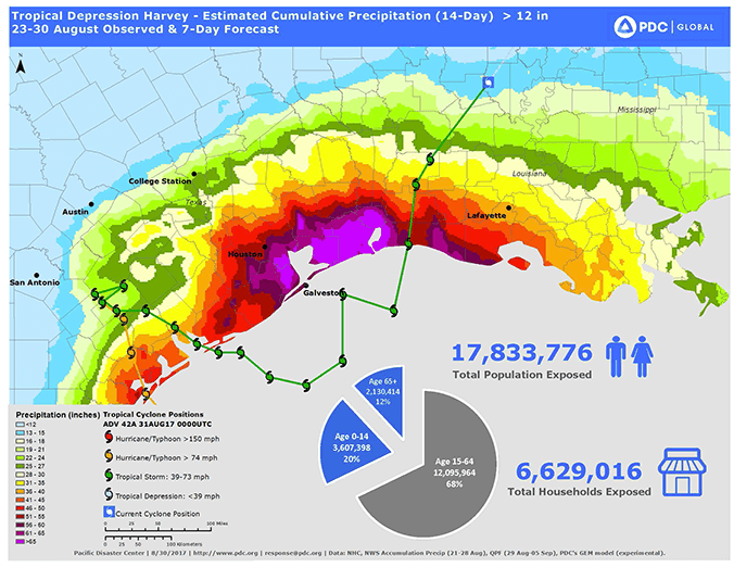 Hurricane-Harvey - Cumulative precipitation map: estimated cumulative rainfall and flooding exposure greater than 12-inches 17,833,776 people, with 6,629,016 households exposed.
