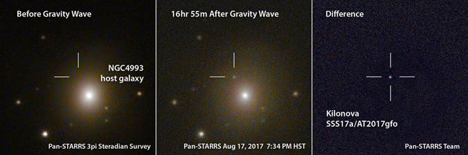 three different photos of the merger of two neutron stars