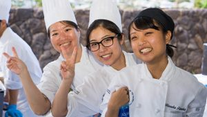 Smiling Culinary Institute of the Pacific students