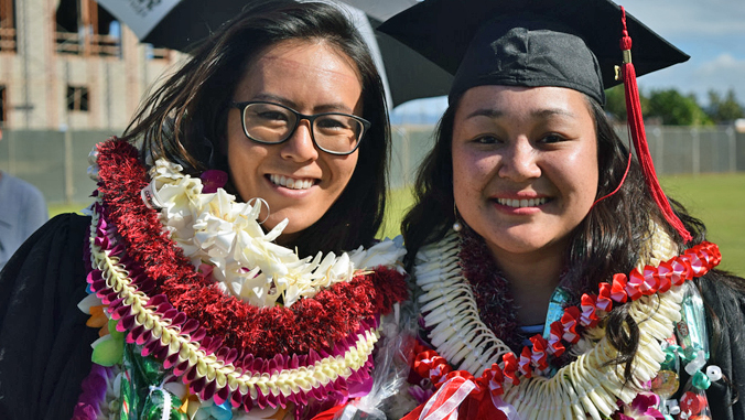 two UH West Oahu grads at commencement
