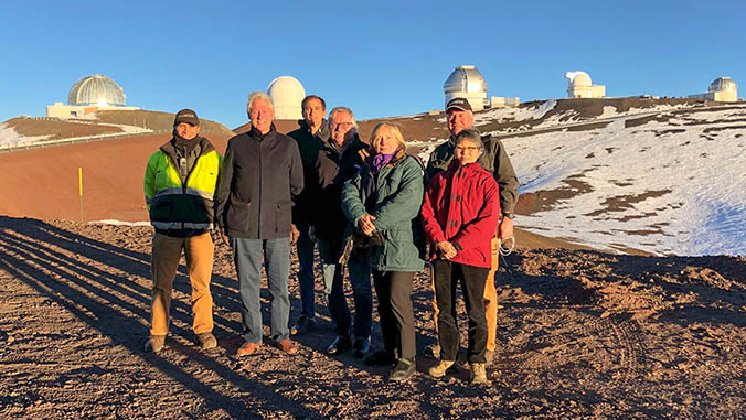 In front of the observatories on Maunakea