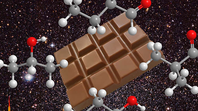 chocolate bar with molecule modules floating in space