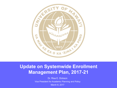 Enrollment Management Plan update presentation to BOR