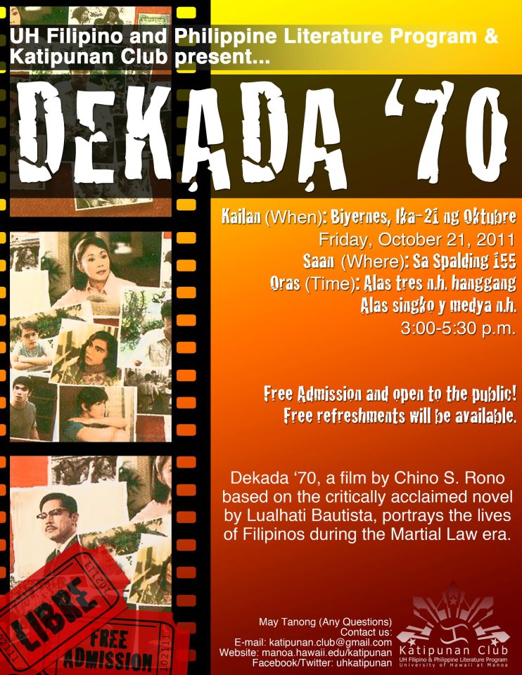 reaction about dekada 70 Reaction paper : dekada'70 dekada '70 (english: the '70s) is a 2002 filipino drama film released based on the acclaimed novel by filipino author, lualhati bautista the film was restored by the abs-cbn film archive directed by chito s roño and was released in 2002 starring vilma santos .